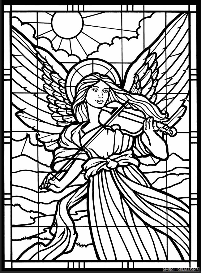 stained glass coloring pages angel playing violin Coloring4free