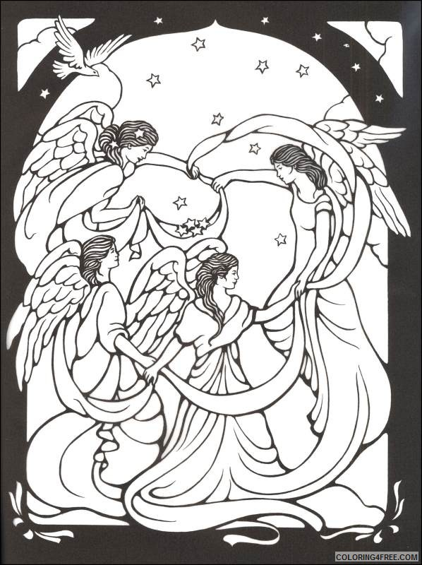 stained glass coloring pages angels Coloring4free