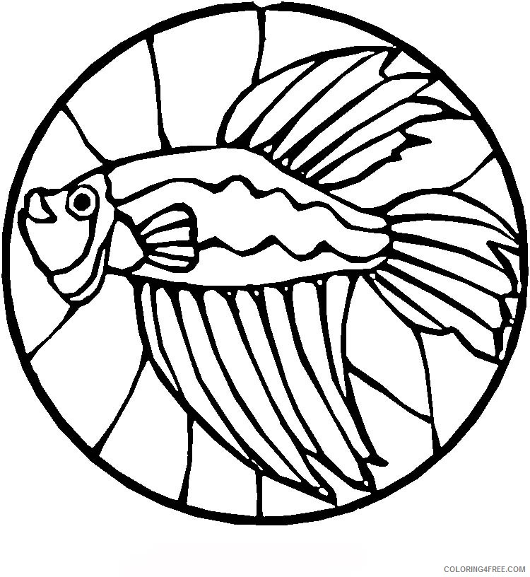 stained glass coloring pages betta fish Coloring4free