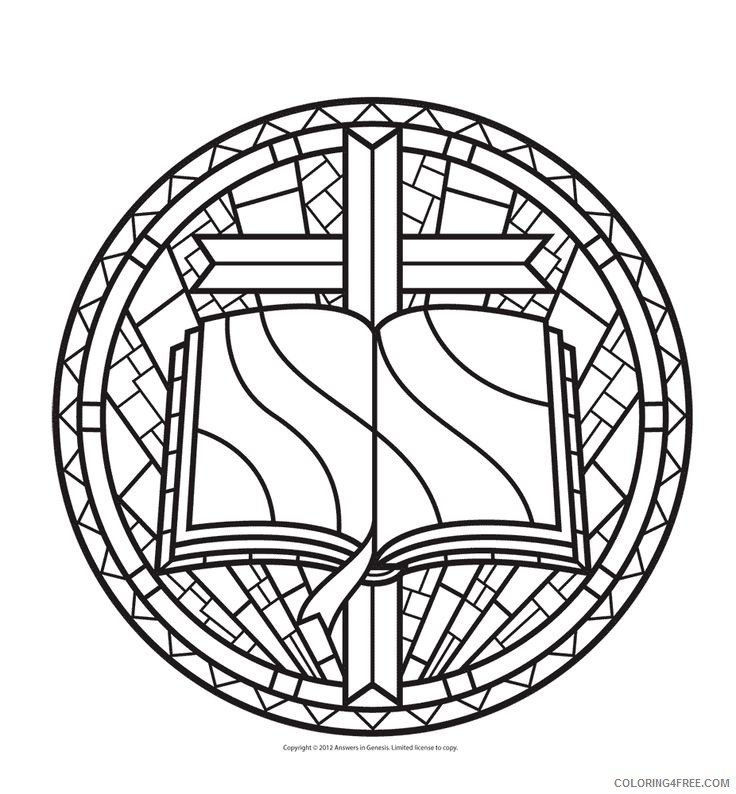 stained glass coloring pages bible and cross Coloring4free