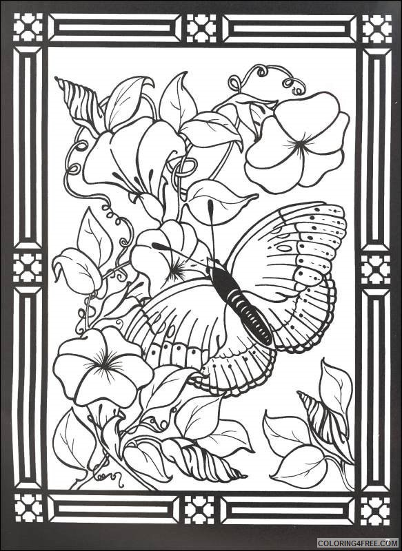 stained glass coloring pages butterfly and flowers Coloring4free