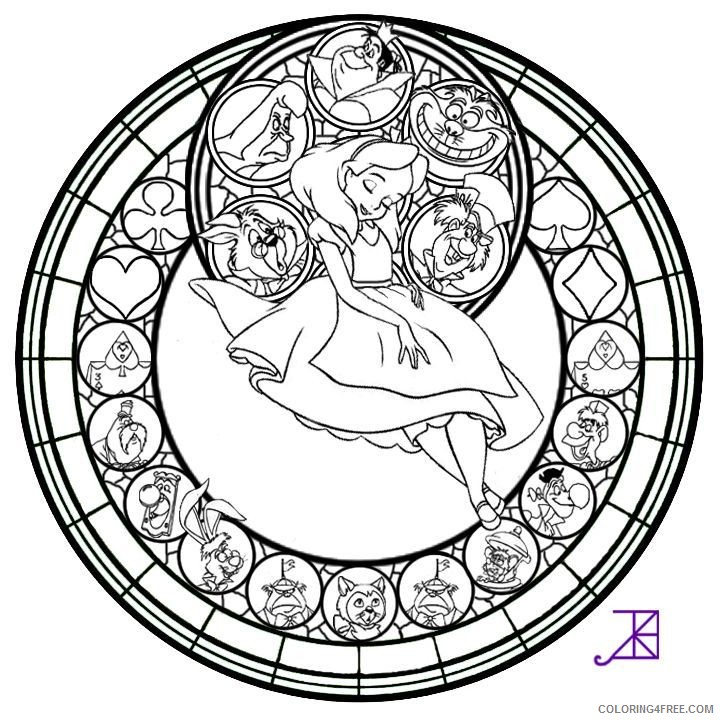stained glass coloring pages disney Coloring4free