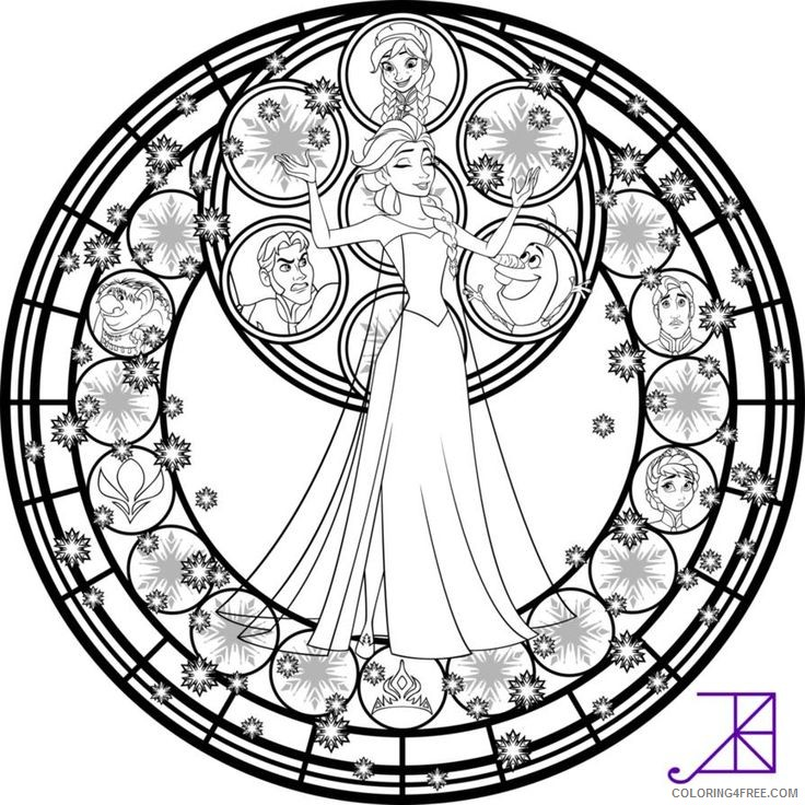 stained glass coloring pages disney frozen Coloring4free