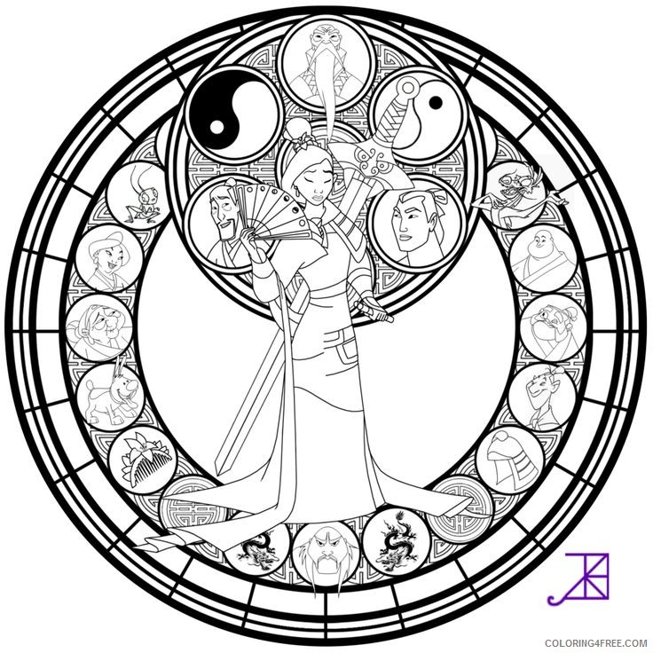 stained glass coloring pages disney mulan Coloring4free