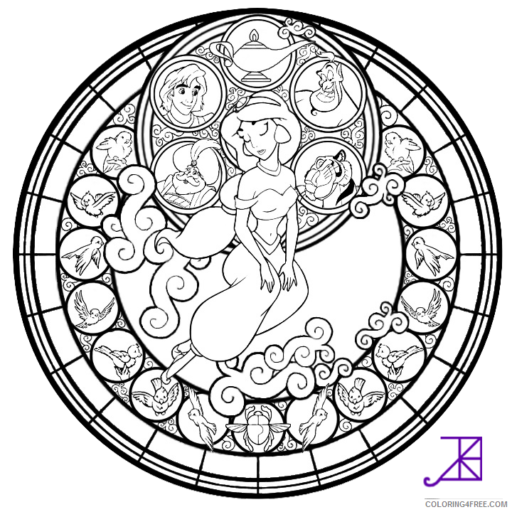 stained glass coloring pages disney princess jasmine Coloring4free
