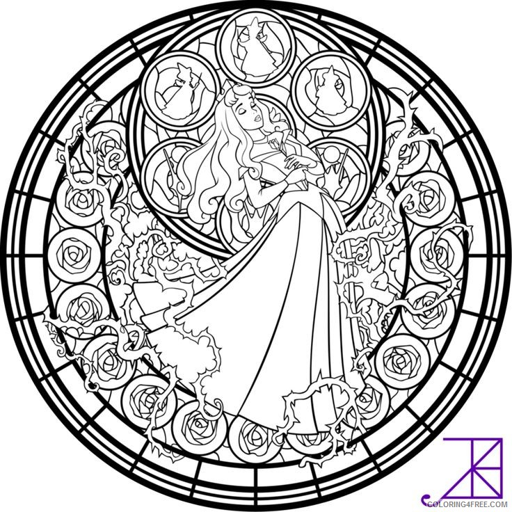 stained glass coloring pages disney sleeping beauty Coloring4free