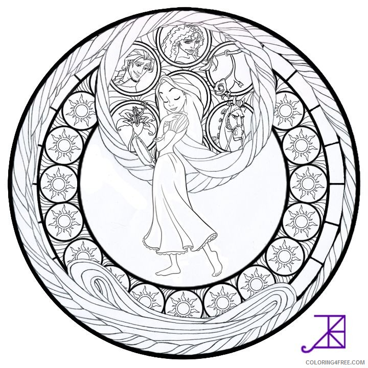 stained glass coloring pages disney tangled Coloring4free