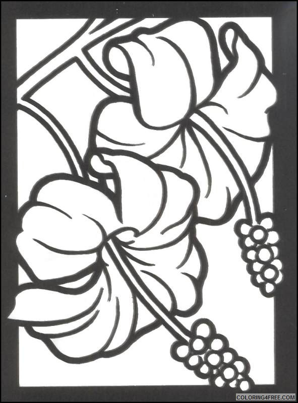 stained glass coloring pages hibiscus flower Coloring4free