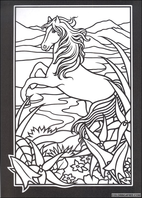 stained glass coloring pages horse in nature Coloring4free