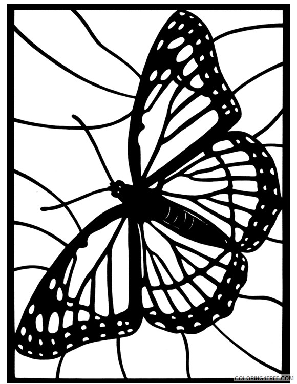stained glass coloring pages monarch butterfly Coloring4free
