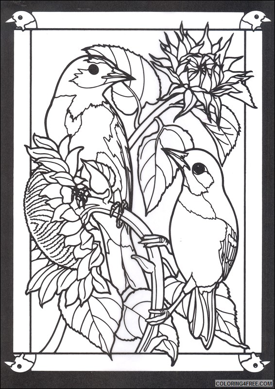 stained glass coloring pages of birds Coloring4free