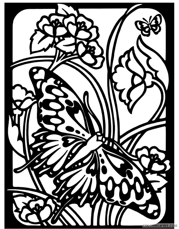 stained glass coloring pages of butterfly and flower Coloring4free