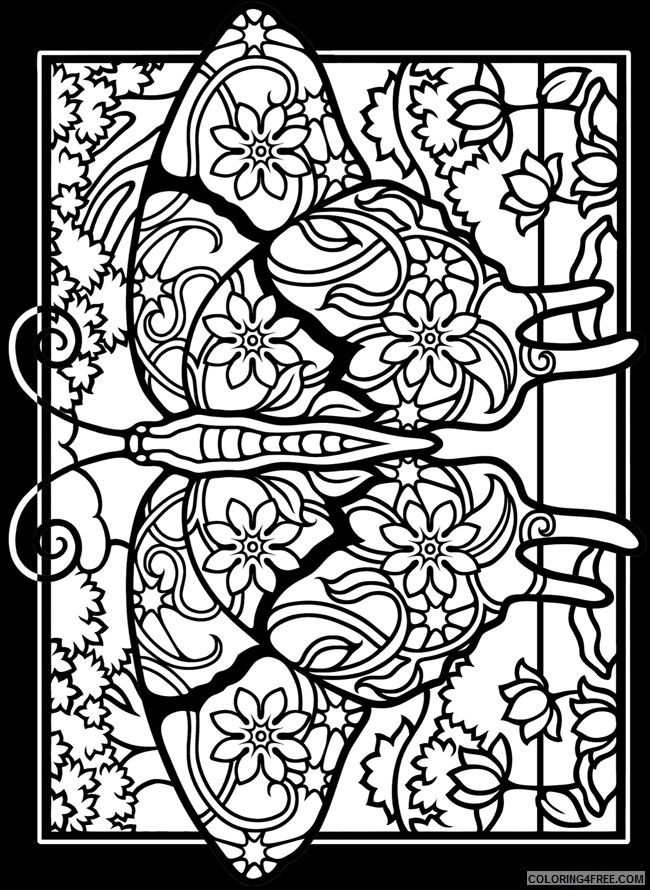 stained glass coloring pages of butterfly for adults Coloring4free