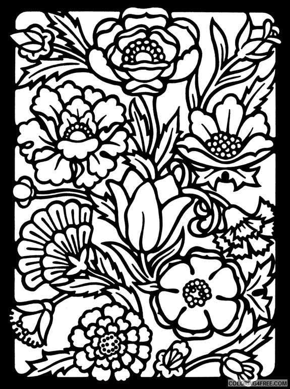 stained glass coloring pages of flowers for adults Coloring4free