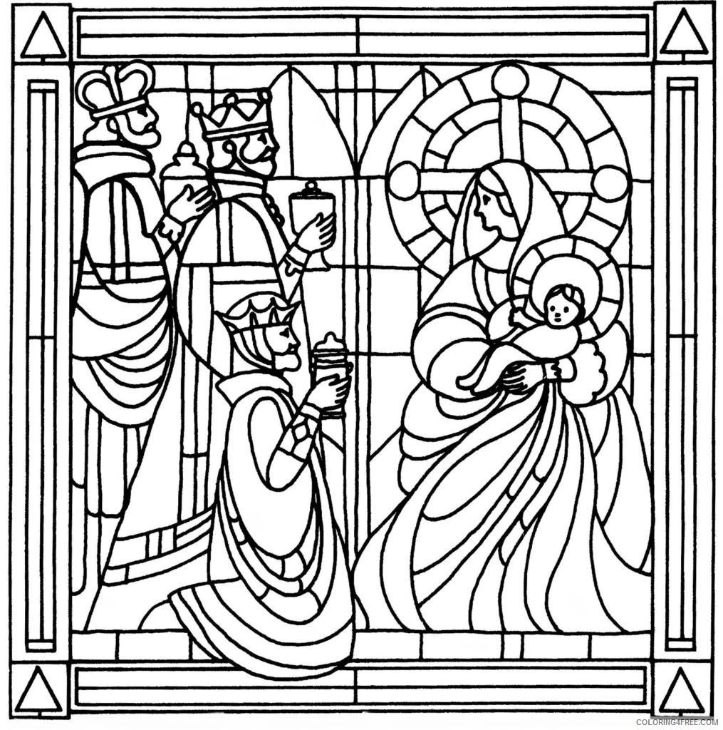 stained glass coloring pages religious Coloring4free