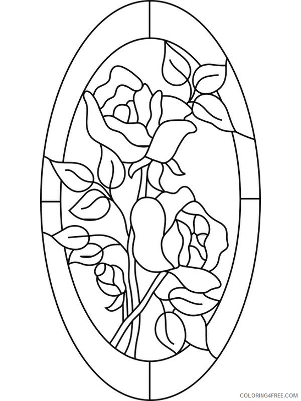 stained glass coloring pages roses Coloring4free