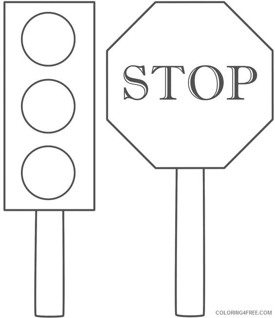 stop sign coloring pages with traffic light Coloring4free