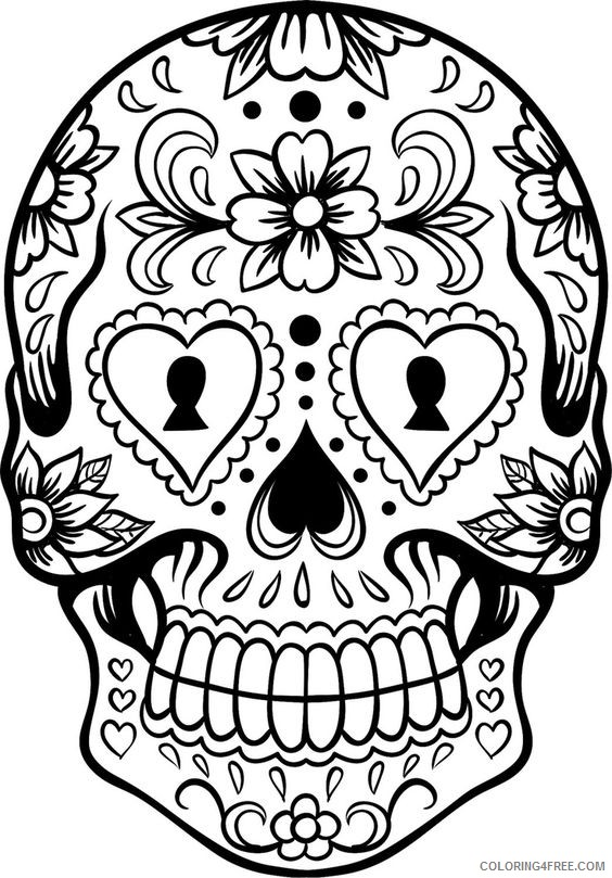sugar skull coloring pages for teens Coloring4free