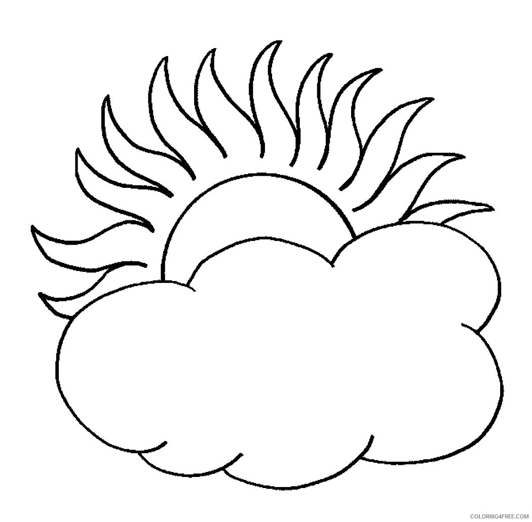 sun coloring pages behind the clouds Coloring4free