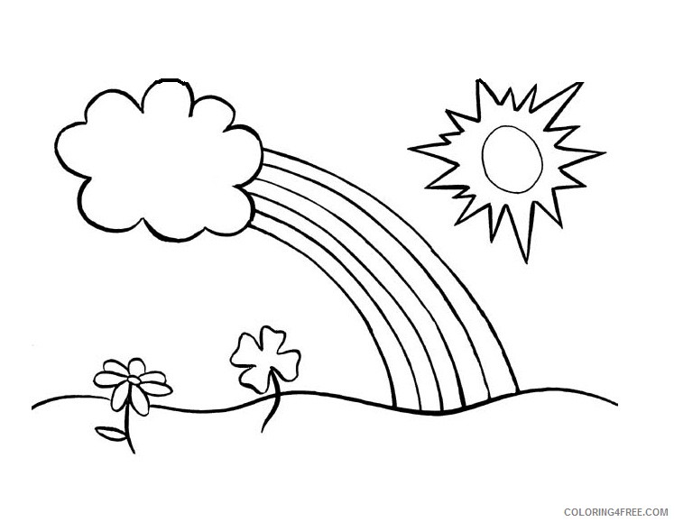 sun coloring pages clouds rainbow Coloring4free