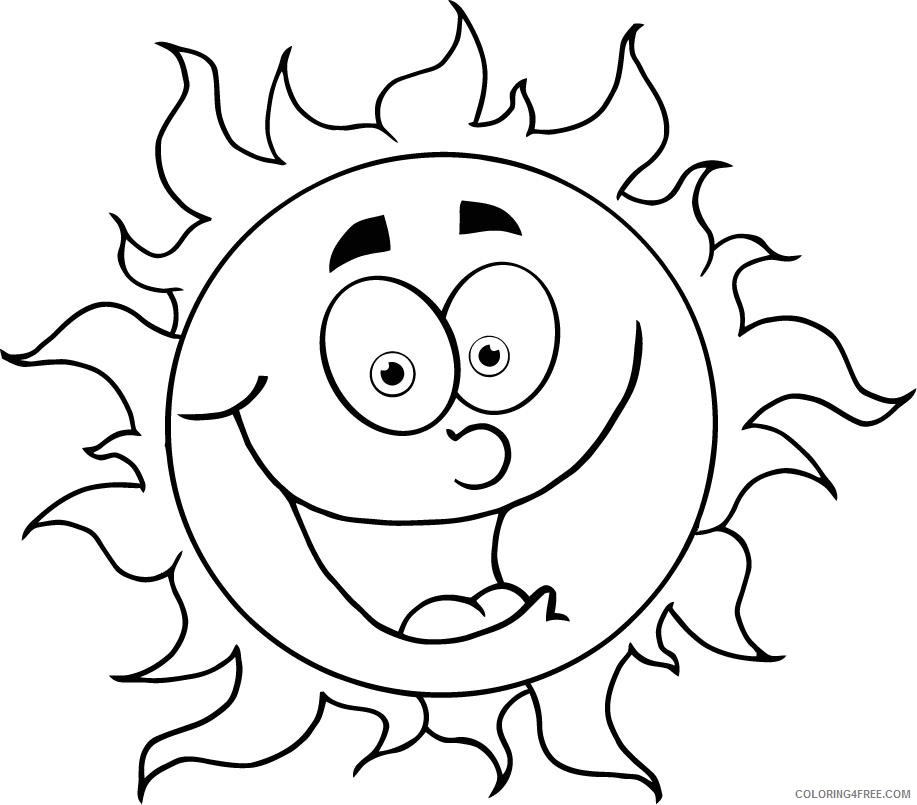 sun coloring pages with face Coloring4free