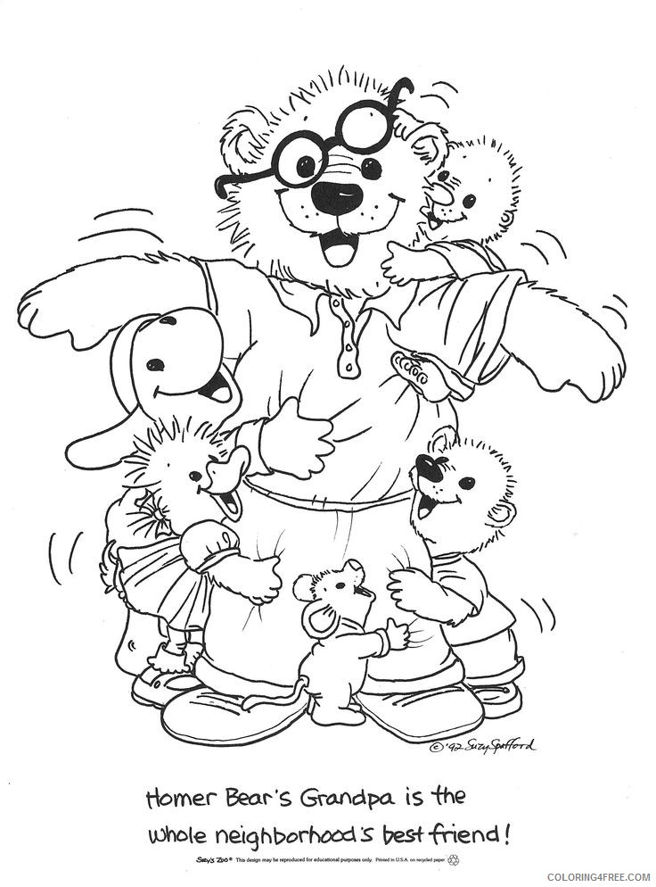 suzys zoo coloring pages homer bears grandpa Coloring4free
