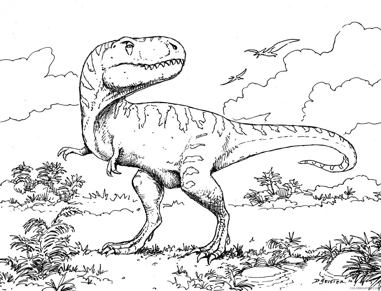 t rex coloring pages jurassic park Coloring4free