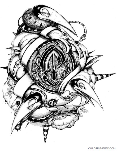 tattoo coloring pages abstract 3d Coloring4free
