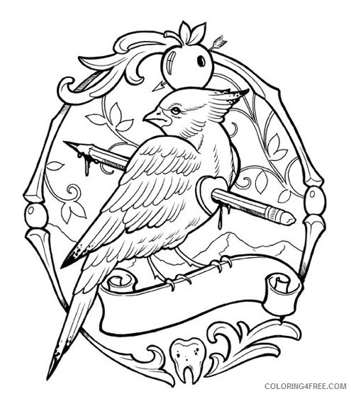 tattoo coloring pages bird Coloring4free