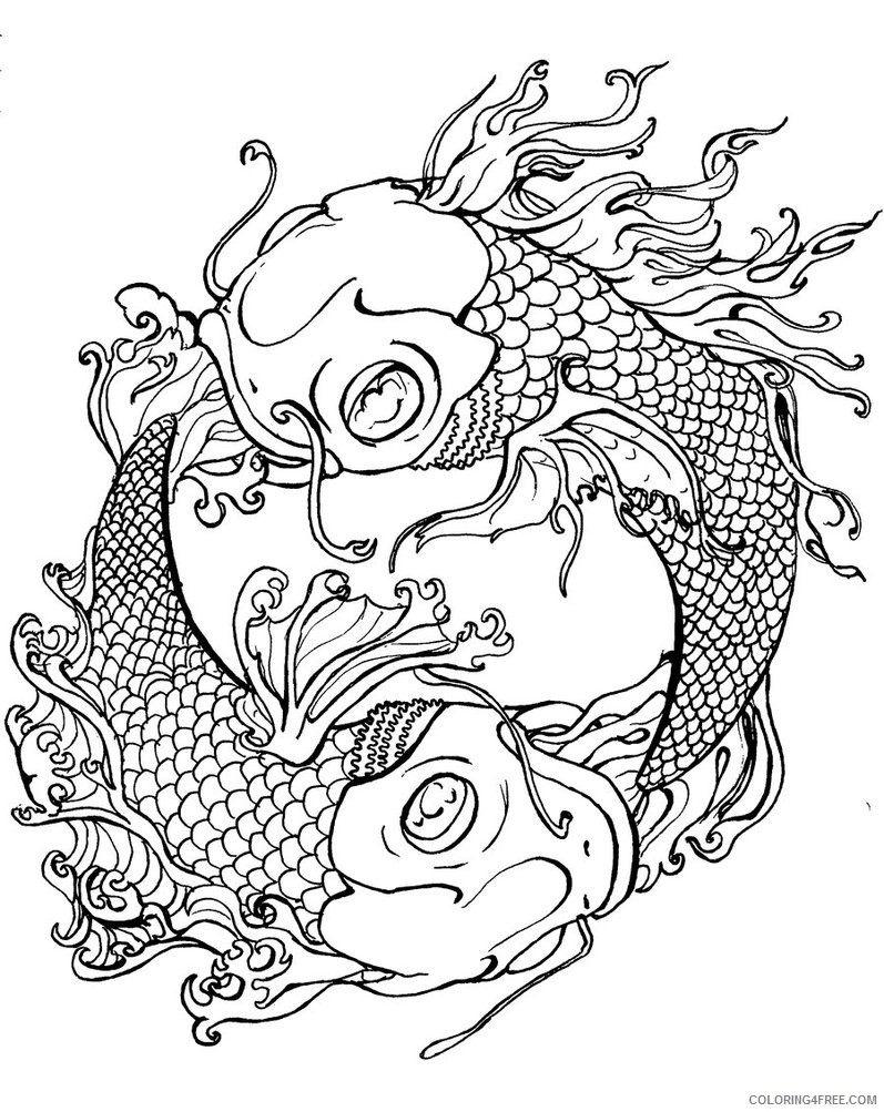 tattoo coloring pages fish Coloring4free