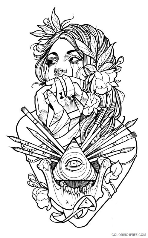 tattoo coloring pages for adults Coloring4free