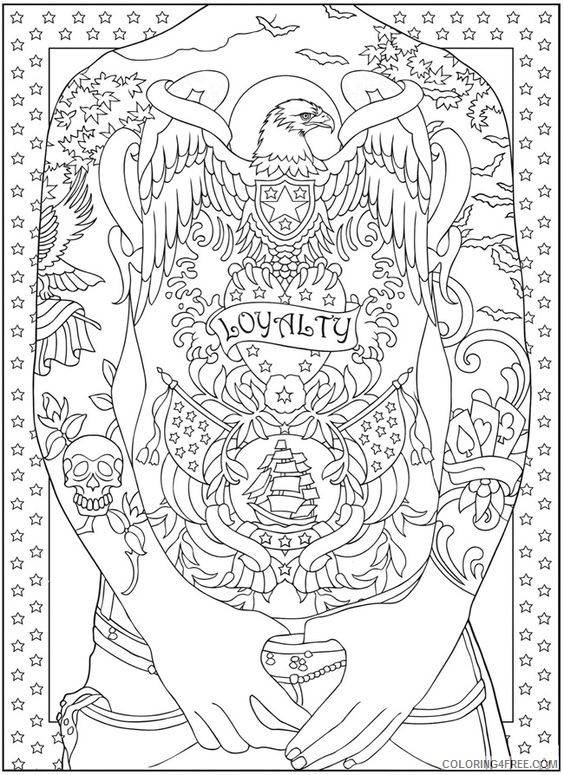 tattoo coloring pages full body Coloring4free