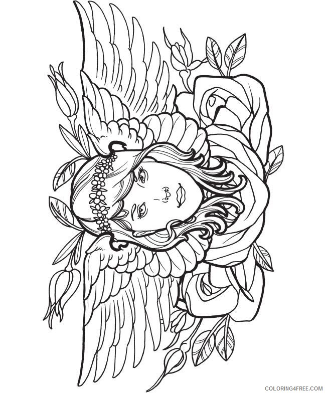 tattoo coloring pages girl with wings and rose Coloring4free
