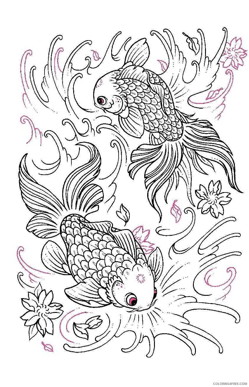 tattoo coloring pages goldfish Coloring4free