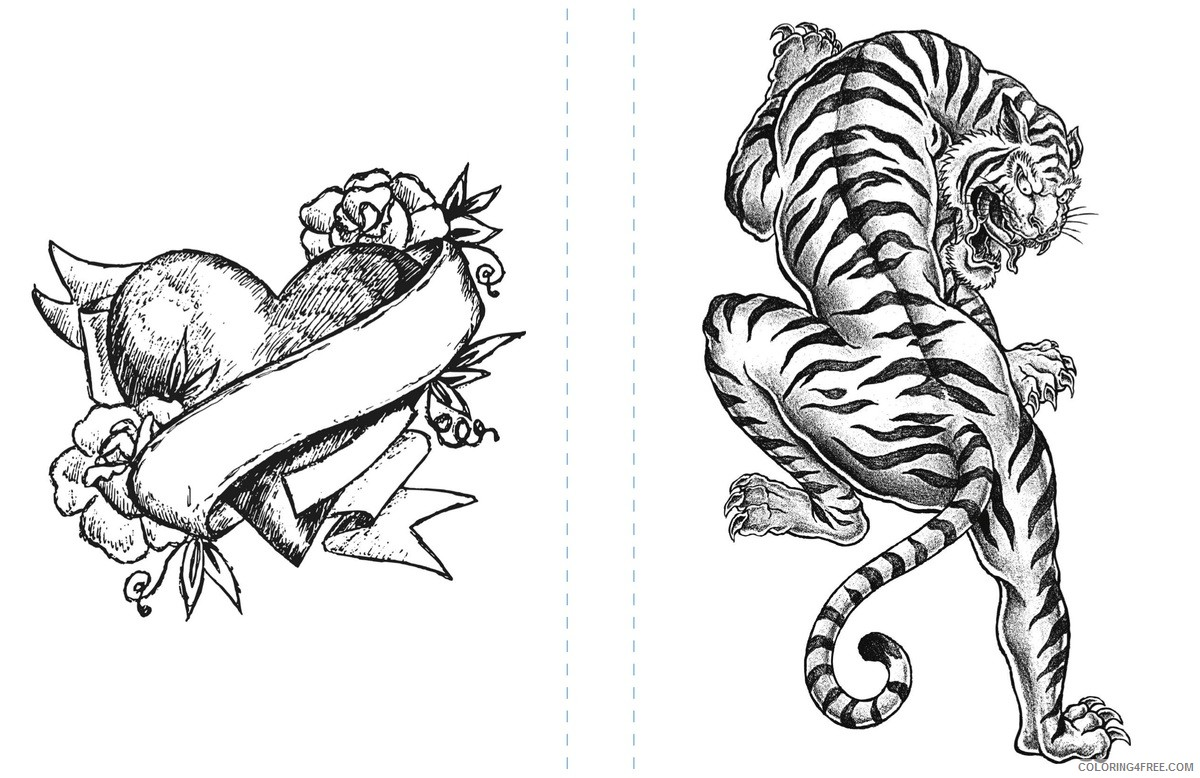 tattoo coloring pages heart and tiger Coloring4free