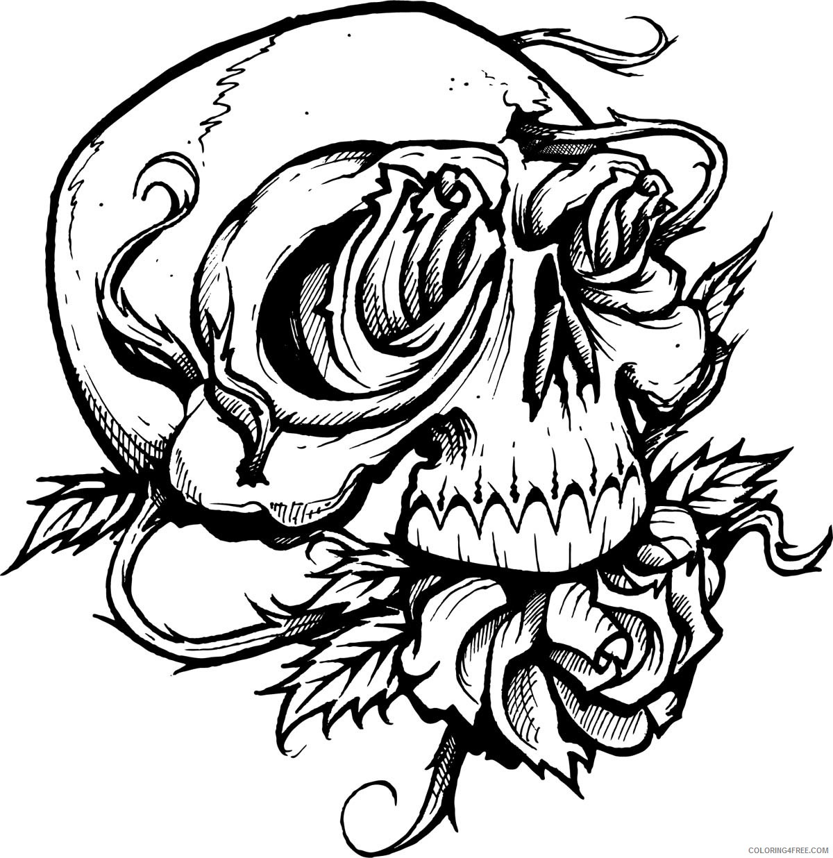 tattoo coloring pages rose and skull Coloring4free