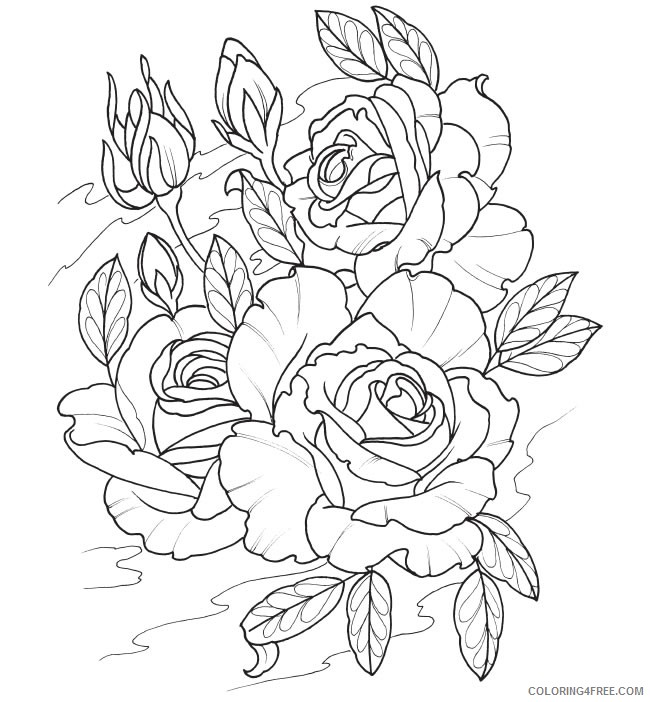 tattoo coloring pages roses Coloring4free