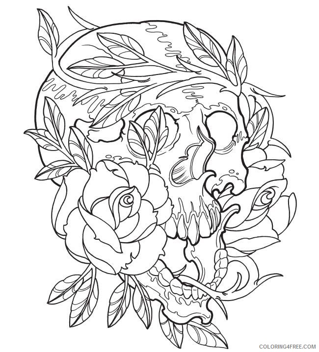 tattoo coloring pages skull and rose Coloring4free
