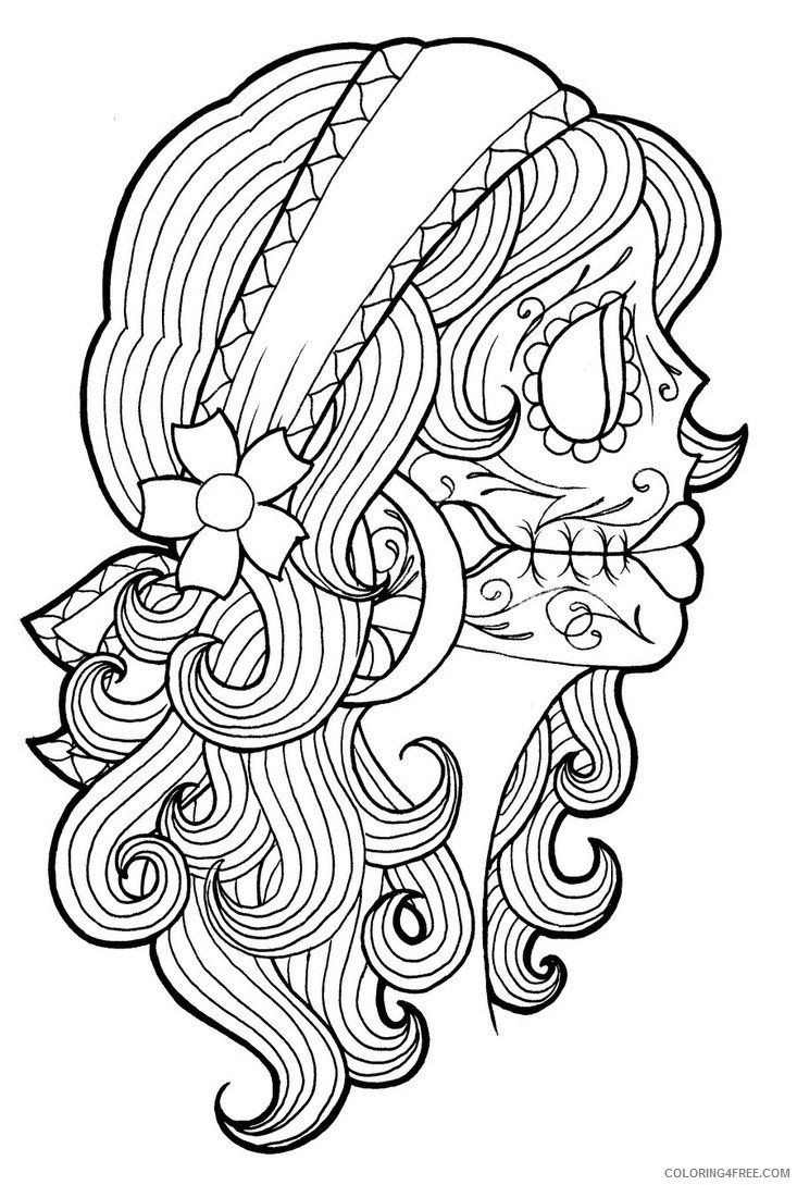 tattoo coloring pages sugar skull girl Coloring4free