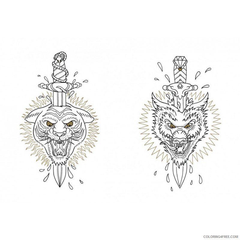 tattoo coloring pages tiger and dragon head Coloring4free