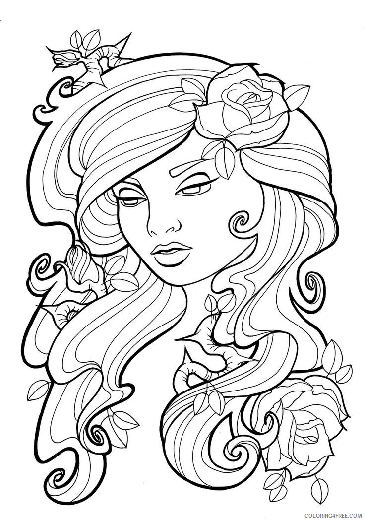 tattoo coloring pages women face Coloring4free