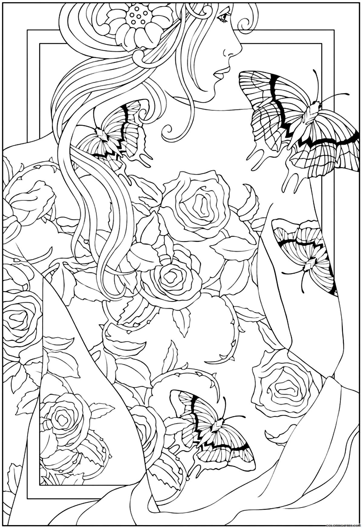 tattoo coloring pages women with tattoo Coloring4free
