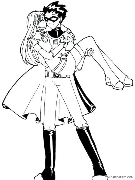 teen titans coloring pages robin and starfire Coloring4free
