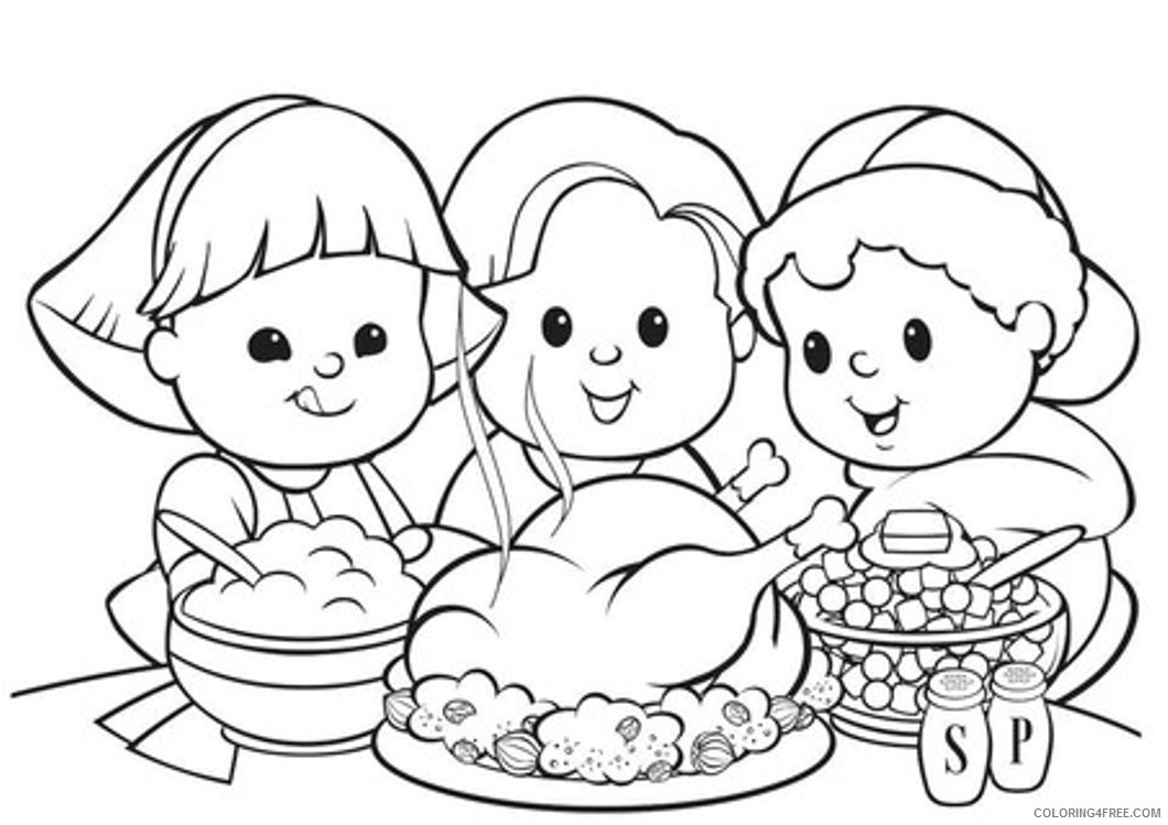 thanksgiving coloring pages kids and food Coloring4free