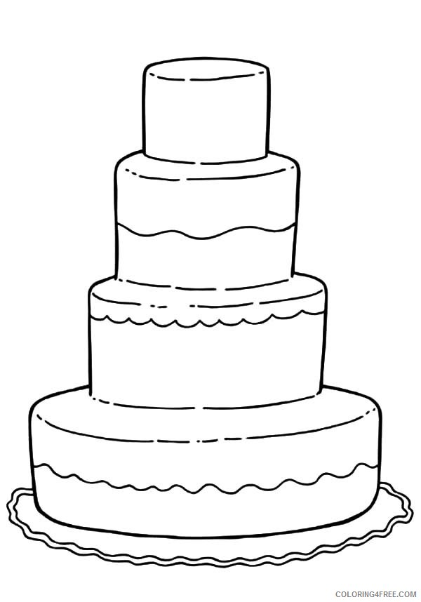 Tiered Birthday Cake Coloring Pages Coloring4free Coloring4free Com