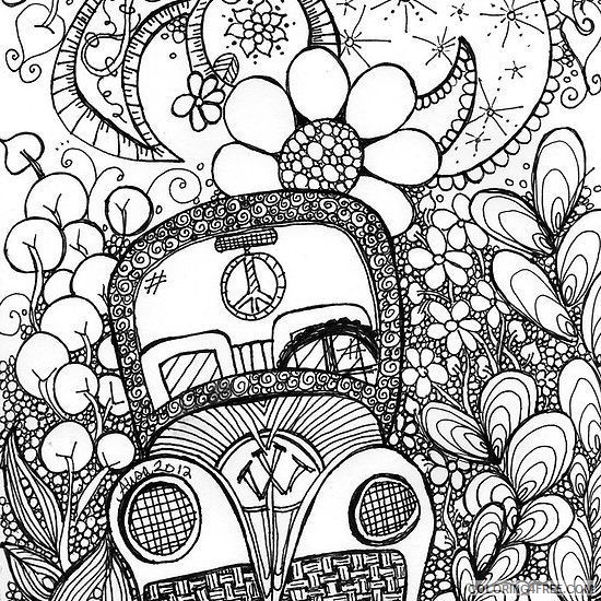 trippy coloring pages flower car Coloring4free