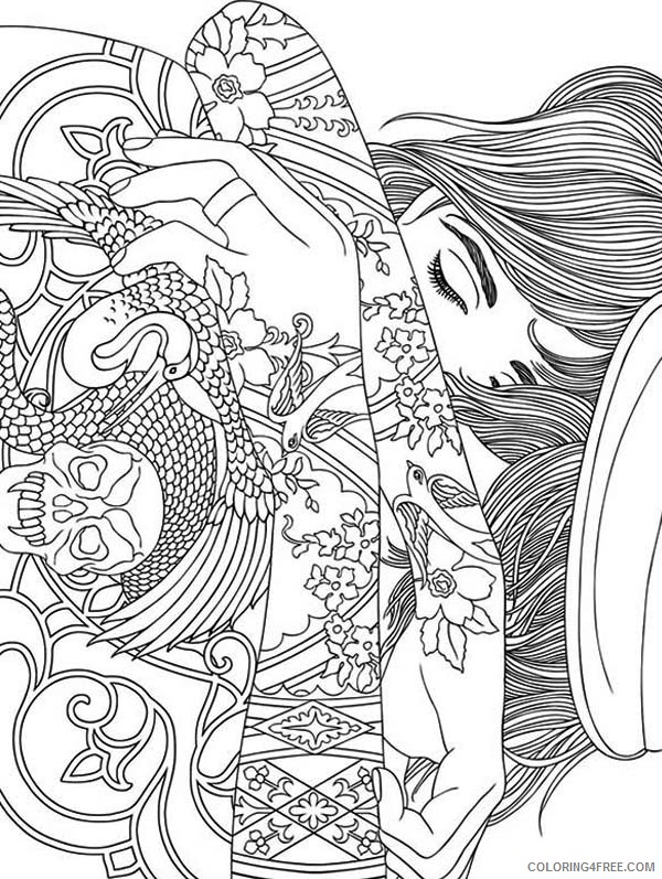 trippy coloring pages girl with tattoo Coloring4free