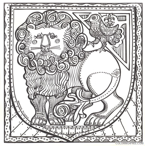 trippy coloring pages lion and bird Coloring4free
