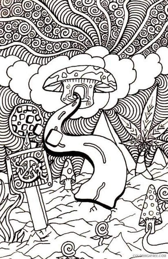 trippy coloring pages mushroom clouds Coloring4free