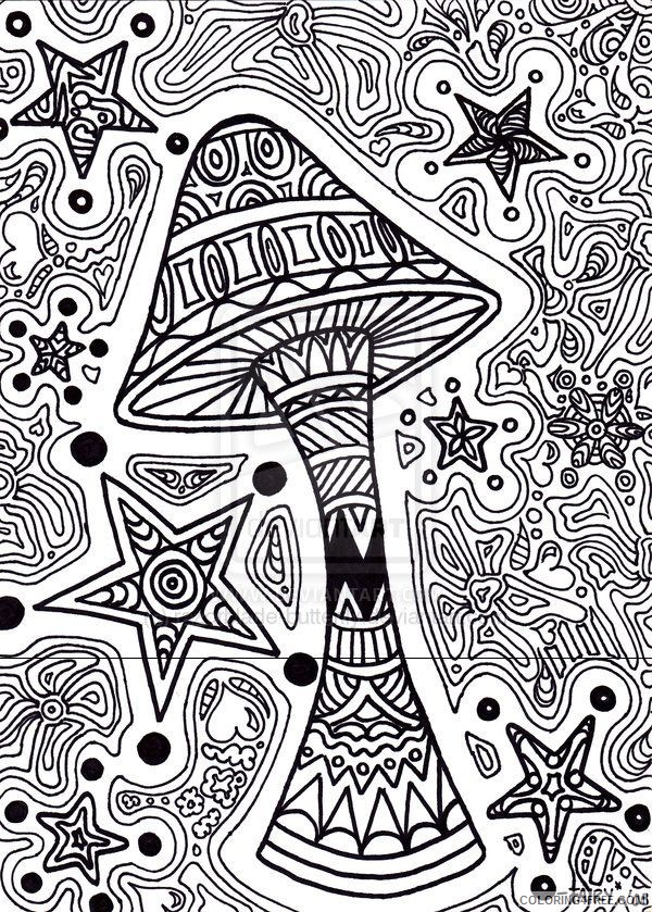 trippy coloring pages mushroom stars Coloring4free